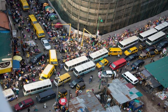 Busy Nigerian market in Lagos