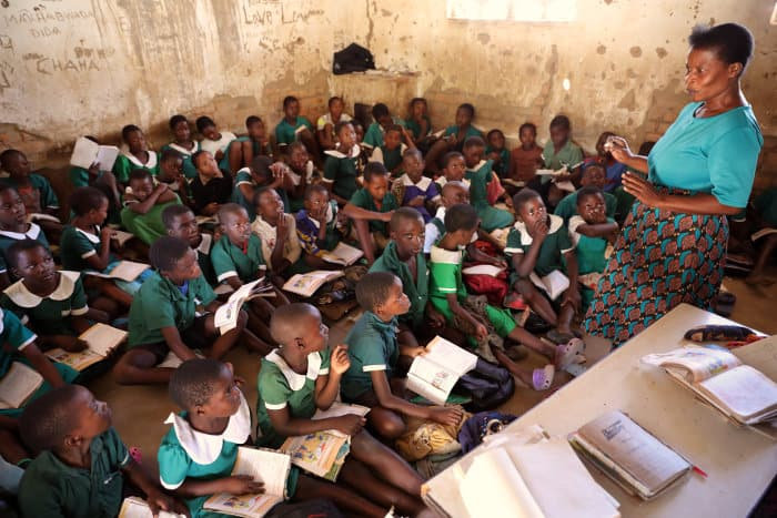 Children learning in a classroom, Malawi