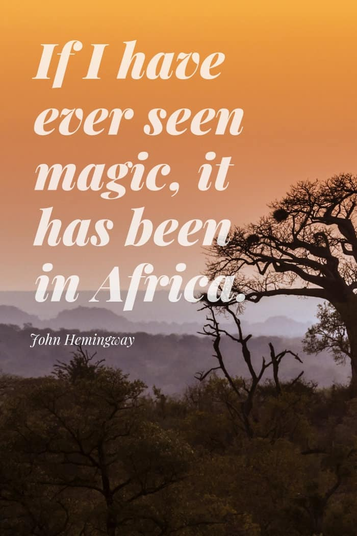 John Hemingway quote about Africa magic