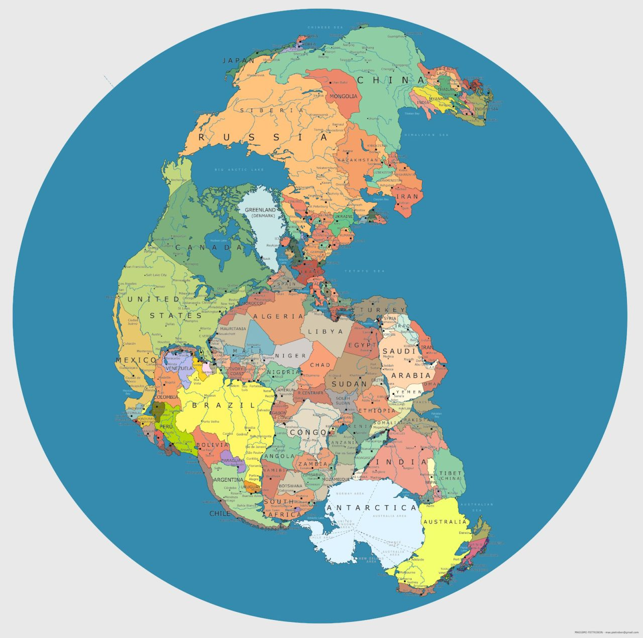 This map shows how modern day Africa would fit into prehistoric ...