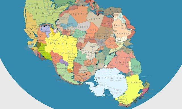 This map shows how modern day Africa would fit into ...