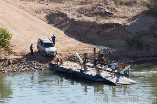 Crossing the Orange River from Namibia to Sendelingsdrif on the South African side