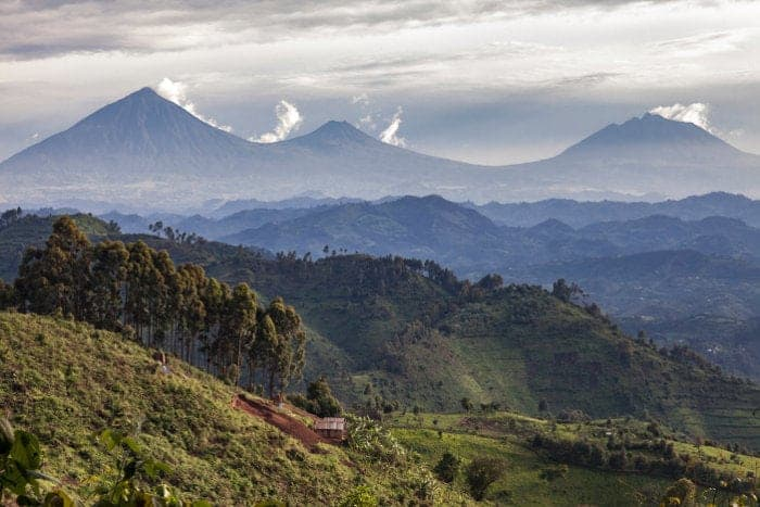 Typical Rwandan hills, with Volcanoes National Park in the background