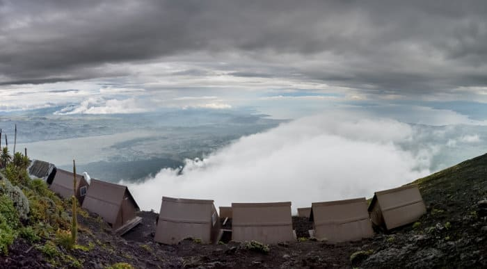 Cabins on the slopes of Mount Nyiragongo