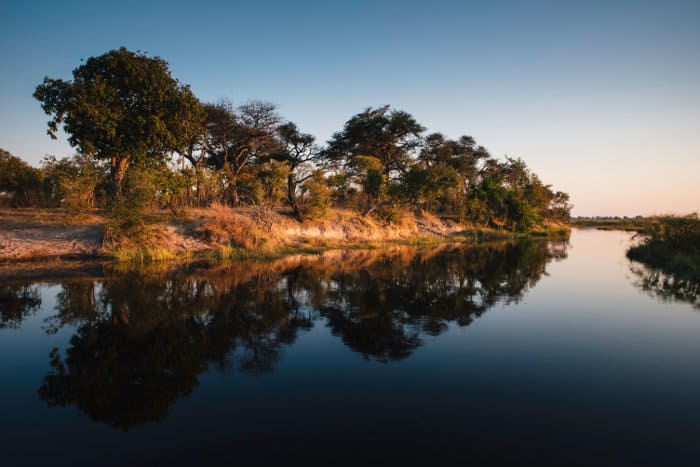 Kwando river at sunset
