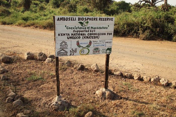 Amboseli Biosphere Reserve sign in southern Kenya