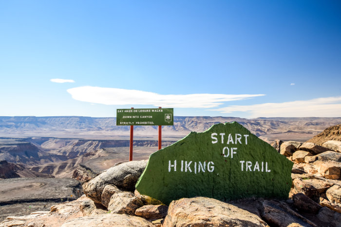 Starting point of the Fish River Canyon hiking trail at Hobas