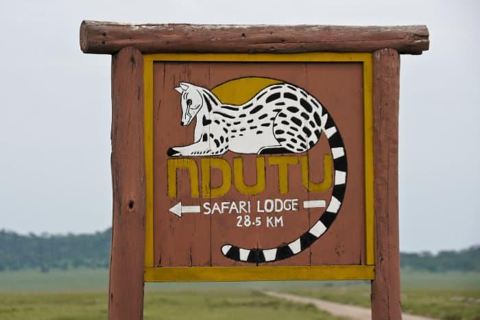 Ndutu Safari Lodge signboard