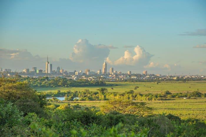 cityscape from Nairobi National Park