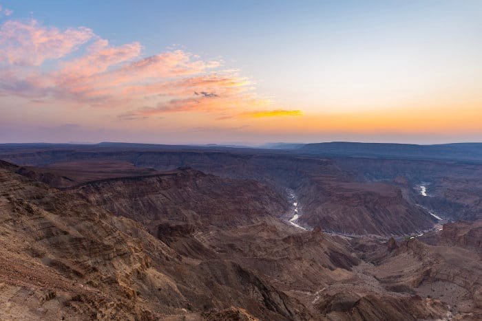 Last rays of sunlight on Fish River Canyon