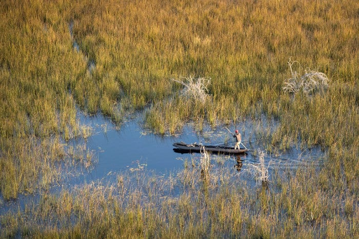 Mokoro aerial view in the Okavango