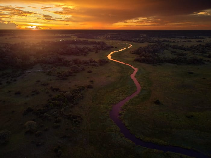Sunset over the Khwai river in the Okavango