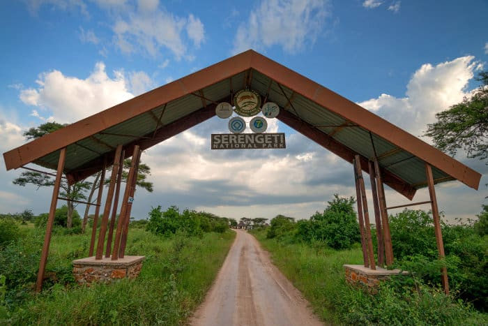 Entrance gate to the famous Serengeti National Park in Tanzania