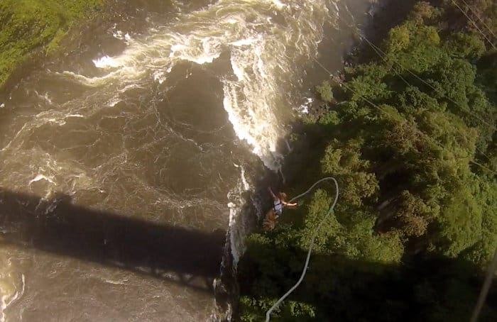 Down she goes: Woman free falling from Victoria Falls Bridge
