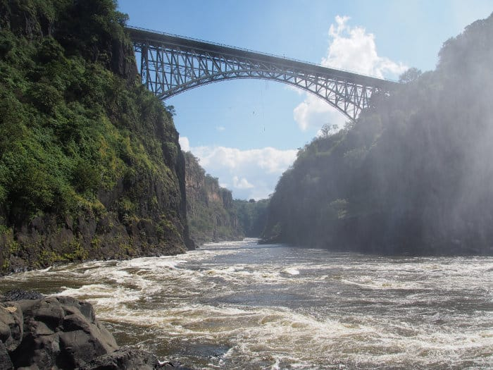 Victoria Falls Bridge seen from water level