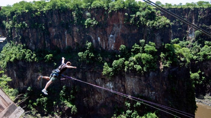 Victoria Falls bungee swing, stepping off the platform feet first