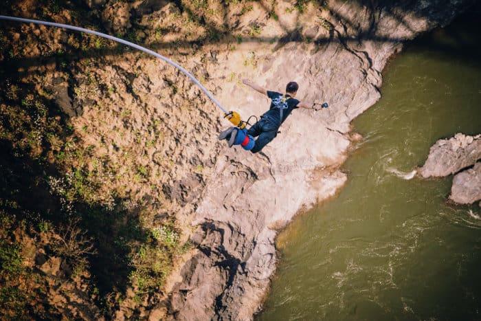 Bungee jump free fall off Victoria Falls Bridge