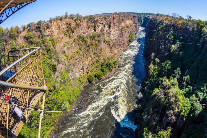 View of the gorge, from the Victoria Falls Bridge