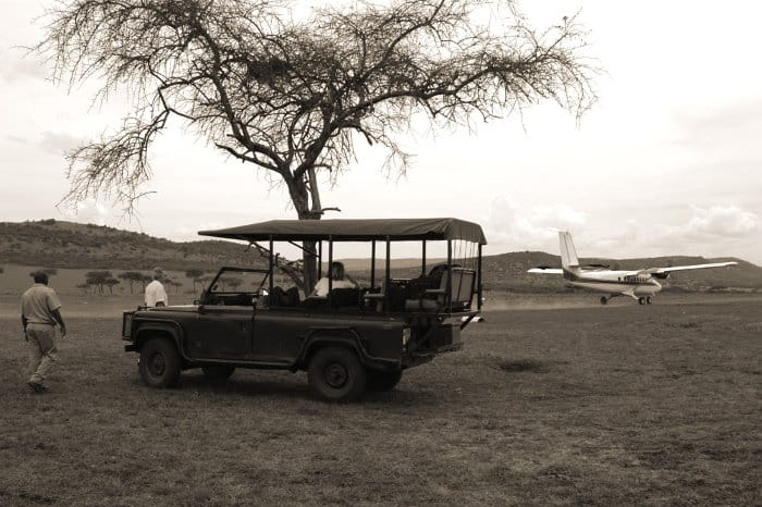 Small tourist plane leaves the Serengeti airstrip