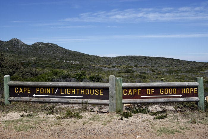 Signpost showing the direction to Cape Point and the Cape of Good Hope