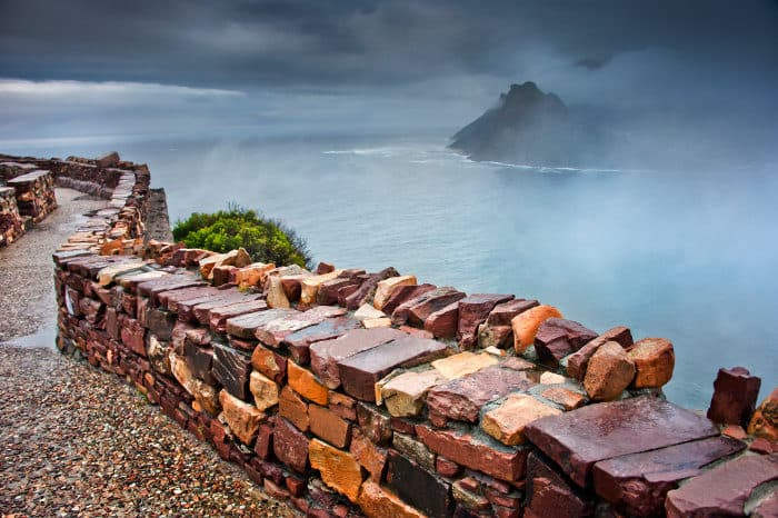 Cape of Good Hope viewpoint under foggy conditions