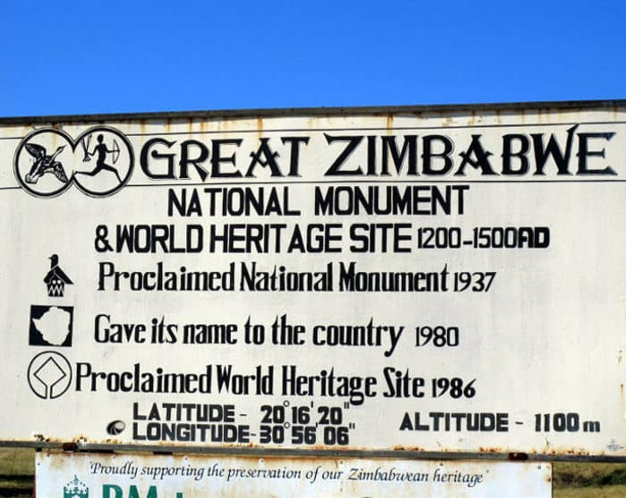 Great Zimbabwe National Monument and World Heritage Site sign