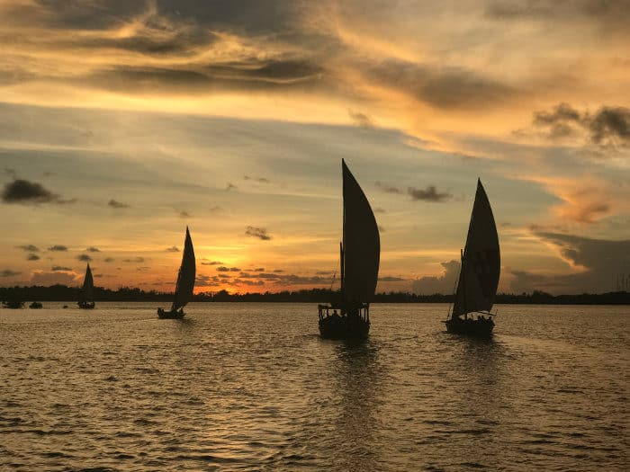 Dhow sailboats at sunset on the island of Lamu