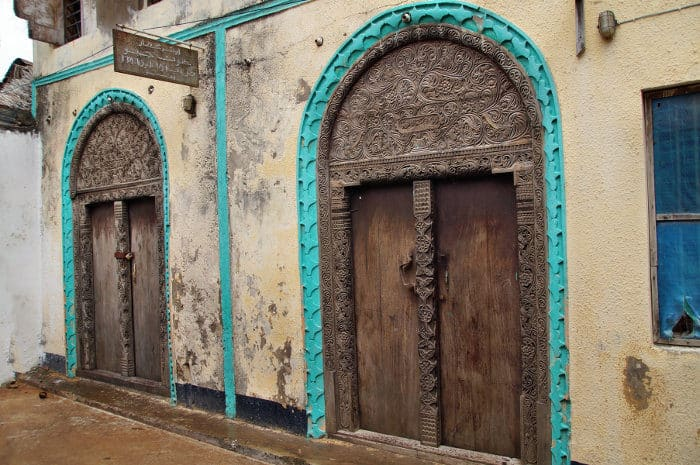 Typical hand-crafted wooden doors in Lamu Town