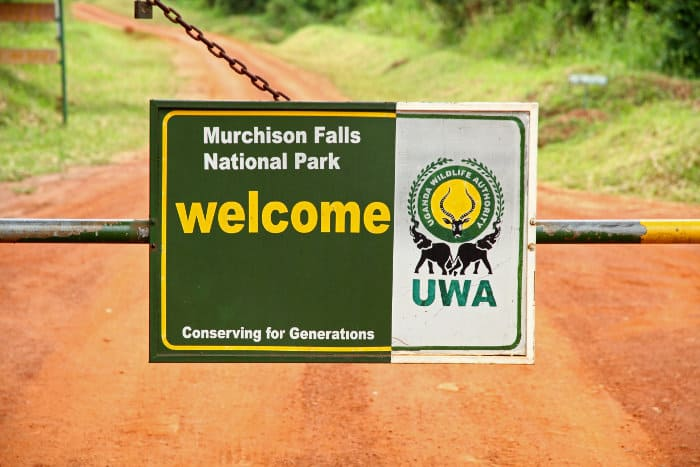 Welcome sign to Murchison Falls National Park