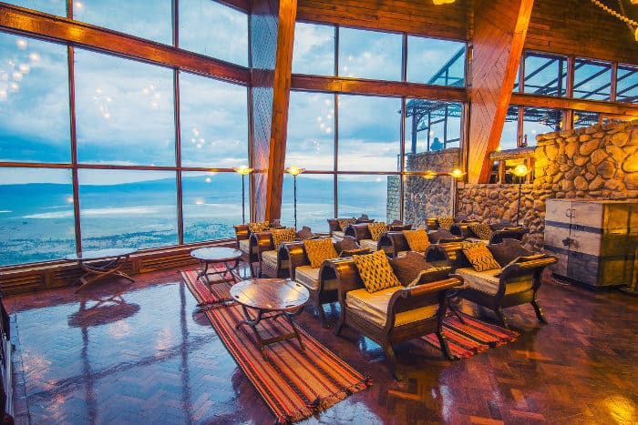 Ngorongoro Wildlife Lodge, dramatically perched on the rim of Africa's Eden