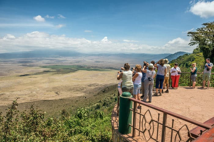 Scenic viewpoint of Ngorongoro Crater in Tanzania