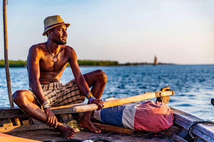 Kenyan fisherman on his boat