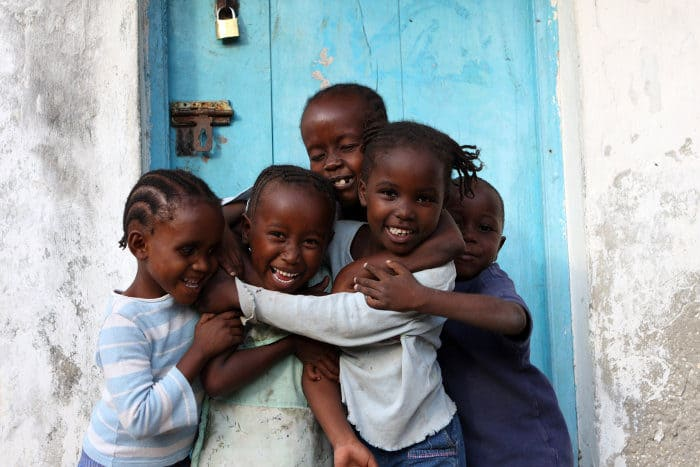 Children with happy faces in Lamu Town