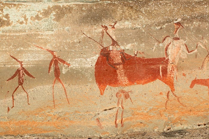 San rock art paintings depicting humans and animals, in the Drakensberg mountains