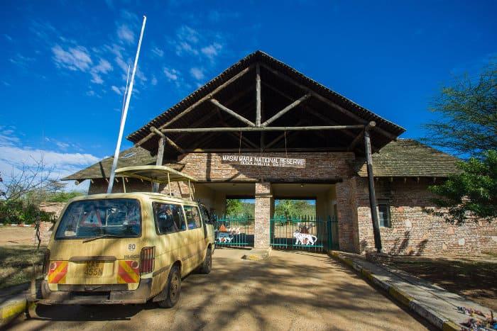 Main entrance gate at the Masai Mara National Reserve