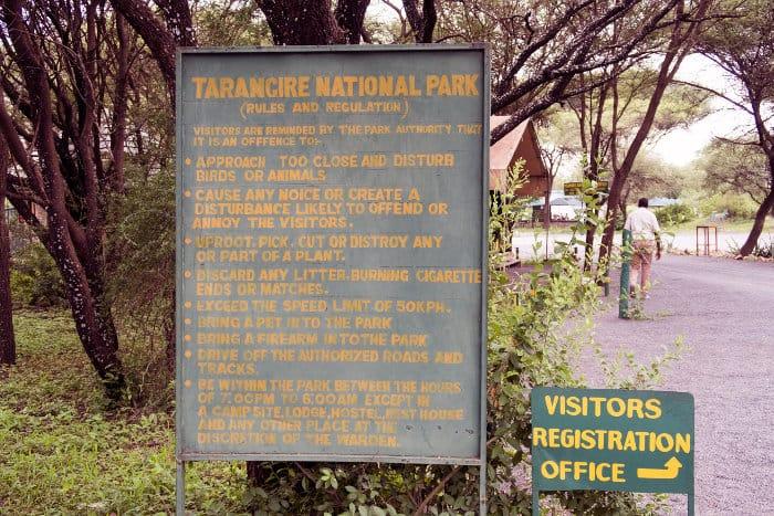Tarangire rules and regulations signpost
