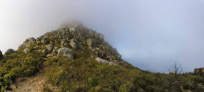 Chapman's Peak summit, shrouded by a veil of clouds