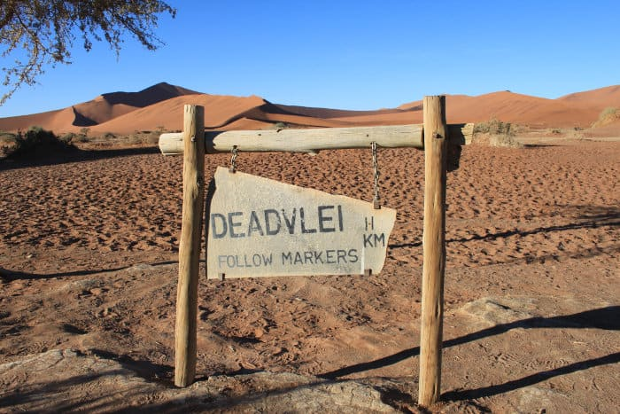 Road sign to the Deadvlei in Namibia