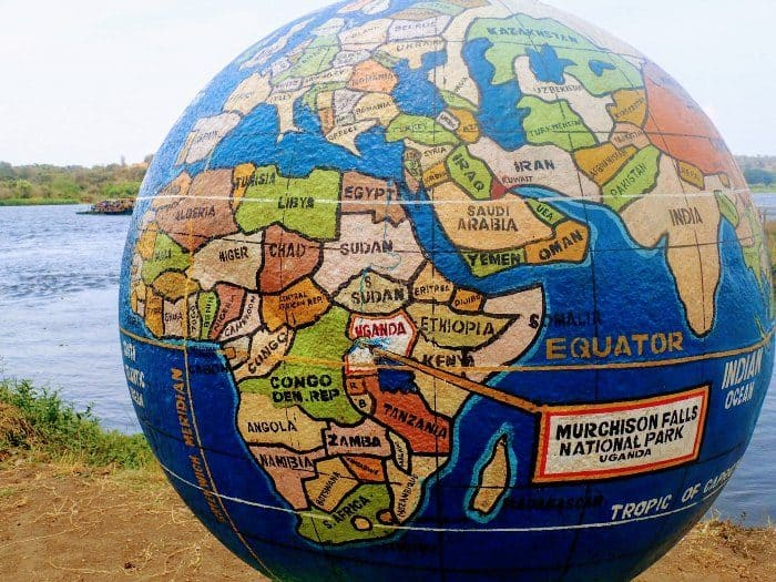 Earth globe showing where Murchison Falls National Park is located
