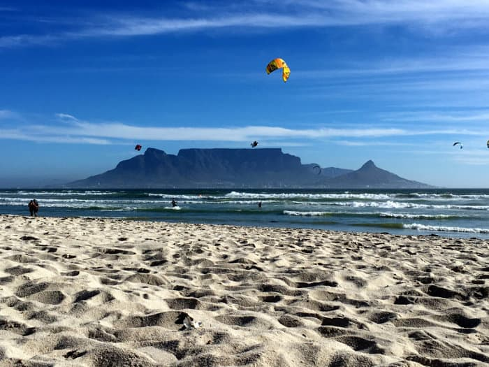Table Mountain seen from Blouberg beach, a paradise for kitesurfers
