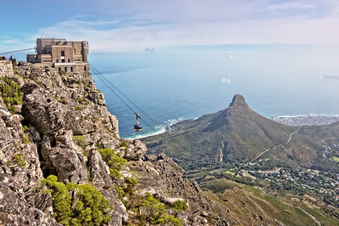 Aerial view of the Table Mountain and its Cableway