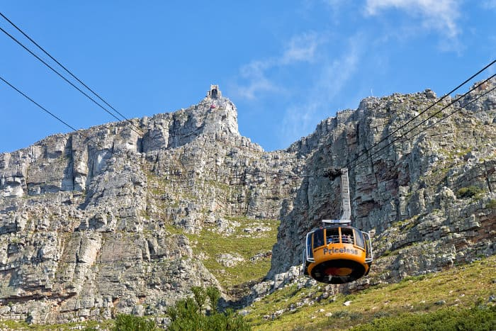 The easier way to reach Table Mountain's summit is with the cable way