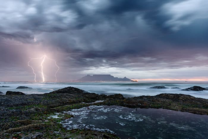 Lightning strikes in Cape Town, right next to Table Mountain