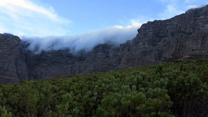 Legend has it that Table Mountain's tablecloth originated when a mantis god threw a massive white kaross (animal skin) on the mountain to smother a raging fire