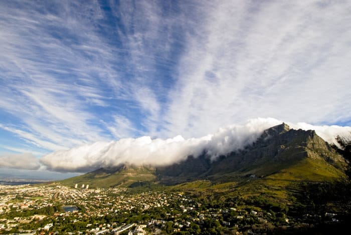 Table Mountain with its famous white cascading tablecloth