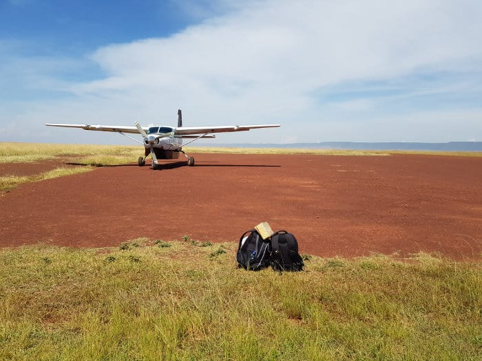 Bags and small aircraft in the Masai Mara