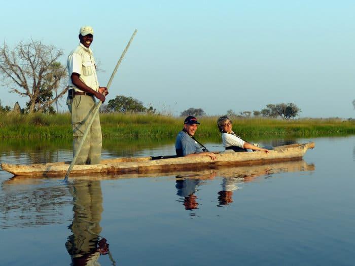 Typical mokoro safari, in a traditional wooden canoe