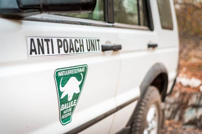 White SUV part of the anti-poach unit in Balule Nature Reserve, Greater Kruger National Park