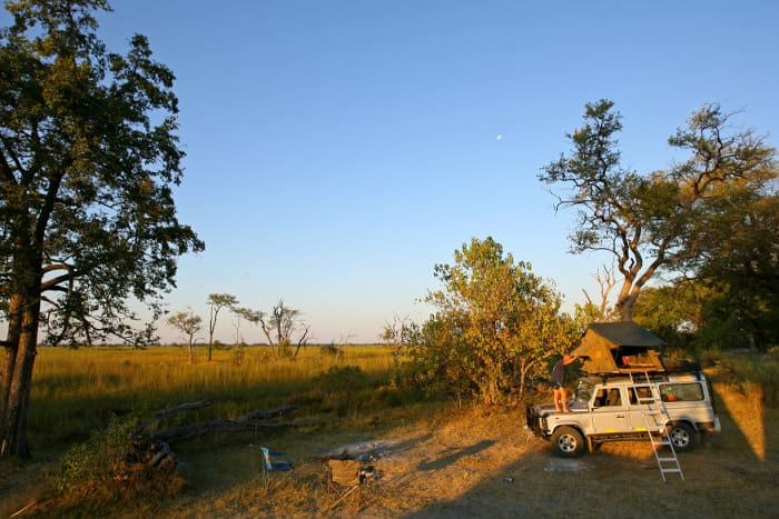 Setting up camp in the wilderness, Moremi Game Reserve
