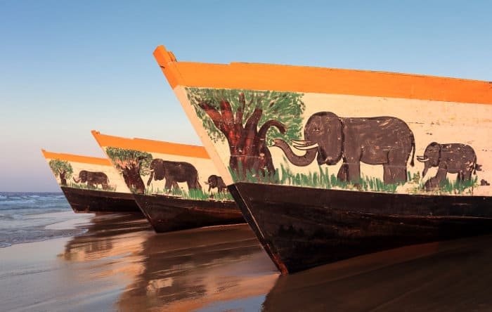 Colourful boats - depicting elephants - at Cape Maclear in Malawi